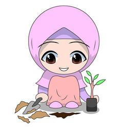 Cute muslim children - planting fun daily vector