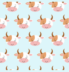 cute sleeping cow seamless pattern funny vector image