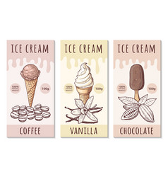 design template ice cream labels with hand vector image