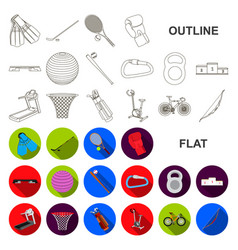 Different kinds of sports flat icons in set vector
