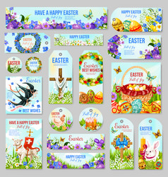 Easter tag and label for religion holiday design vector