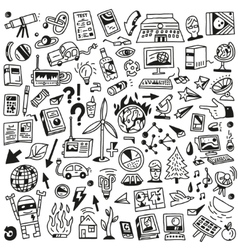 Ecology - big doodles set vector image