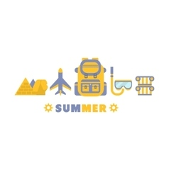 Egypt Summer Trip Symbols Set By Five In Line vector