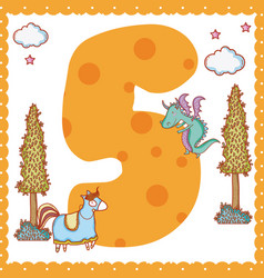 five number cartoon vector image