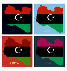 flag map of libya vector image