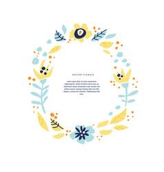 Floral wedding invitation hand drawn layout vector