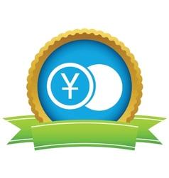 Gold yen coin logo vector