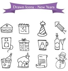 Hand draw of New Years icon collection vector image