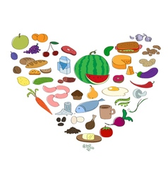 Hand drawn food collection in heart symbol Fruit vector image