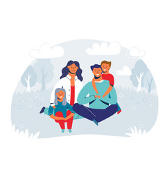 happy family enjoying picnic characters vector image