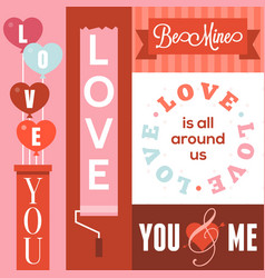 happy valentines day and wedding cards vector image