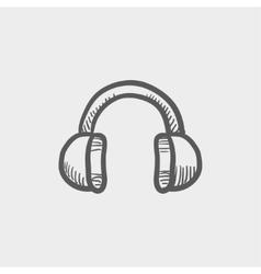 Headphone sketch icon vector