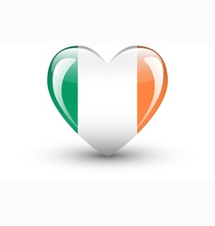 Heart-shaped icon with national flag of Ireland vector image