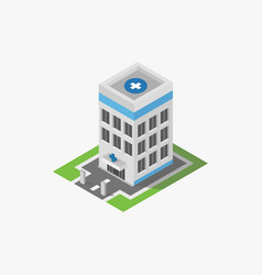 isometric hospital icon in on white background vector image