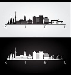kiel skyline and landmarks silhouette vector image
