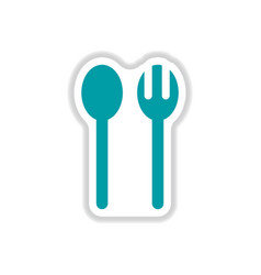 Label icon on design sticker collection spoon fork vector