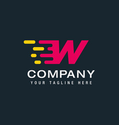Letter w with delivery service logo fast speed vector