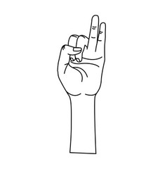Line hand with pinky and ring finger up symbol vector