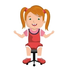 Little child sitting on office chair vector