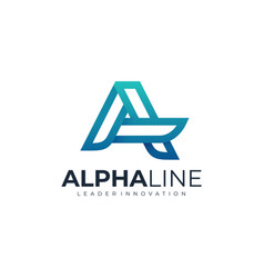 Logo alpha line gradient colorful style vector