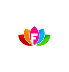 Lotus letter f logo icon design vector
