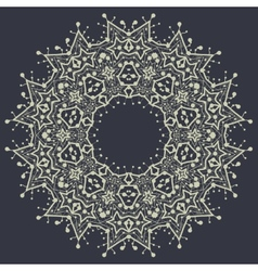 Mandala in outlines over gray background Vintage vector image