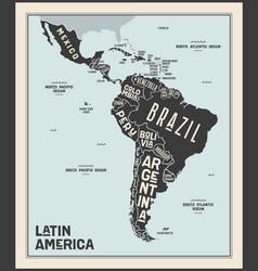 Map latin america poster latin america vector