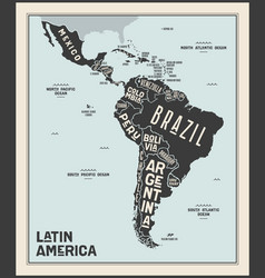Map latin america poster map latin america vector