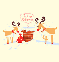 merry christmas card with santa claus in the vector image