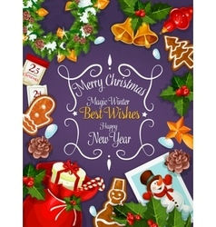 Merry Christmas New Year wishes card poster vector