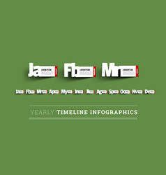 monthly timeline infographics paper cut vector image