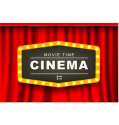 Movie theater advert in light bulb frame 3d banner vector
