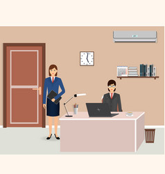 office room interior with two women employees vector image