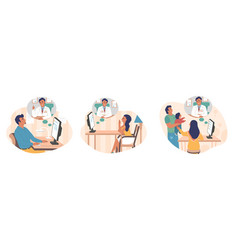 Online doctor-patient communication set vector