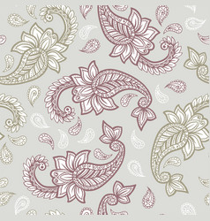 paisley pattern background golden yellow and red vector image