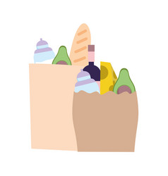 paper bags grocery with food isolated design vector image