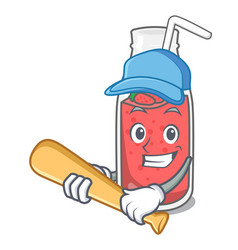playing baseball strawberry smoothie character vector image