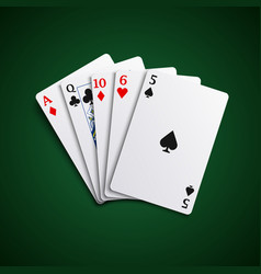 Poker hand high cards combination template vector