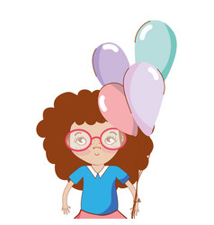 pretty girl with balloons and casual wear vector image