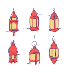Ramadan lanterns with line art style collection vector