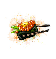 Red caviar gunkan sushi from a splash of vector