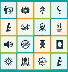 Religion icons set with ketupat mosque adhaan vector