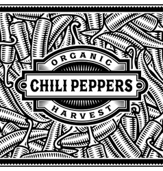 Retro Chili Pepper Harvest Label Black And White vector