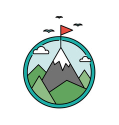 Retro success circular icon with mountain and flag vector