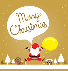Santa claus jumping on snowdrift in town vector