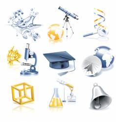 Science and education icon set vector