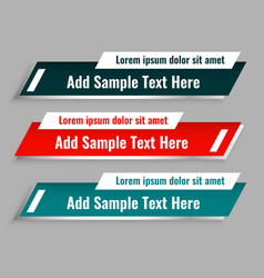 Set lower third template in three colors vector