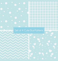 Set of 4 cute retro blue patterns and textures vector