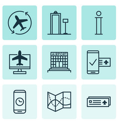 Set of 9 traveling icons includes airfield vector