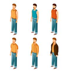 set of isometric men icons vector image
